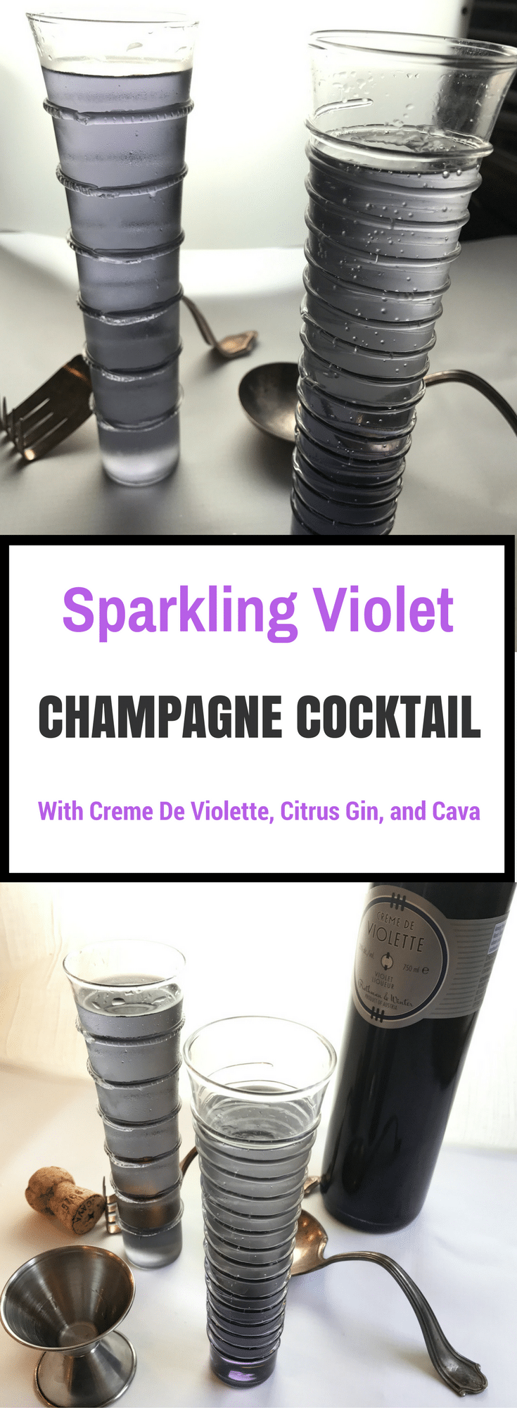 OMG I LOVE this gorgeous Sparkling Violet Champagne Cocktail!  It's velvety sweet & lightly floral with creme de violette, & a splash of citrus gin that balances out that sweetness. Bubbly cava sends it over the top!  It's a perfect brunch or shower drink!  Cocktail | Cocktail Recipe | Creme de Violette | Champagne Cocktail | Champagne Cocktail Recipe | Purple Drink | Brunch Drink | Shower Drink | Shower Cocktail