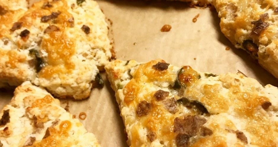 Roasted Jalapeno, Garlic, and White Cheddar Savory Scones Recipe with Smoked Sea Salt