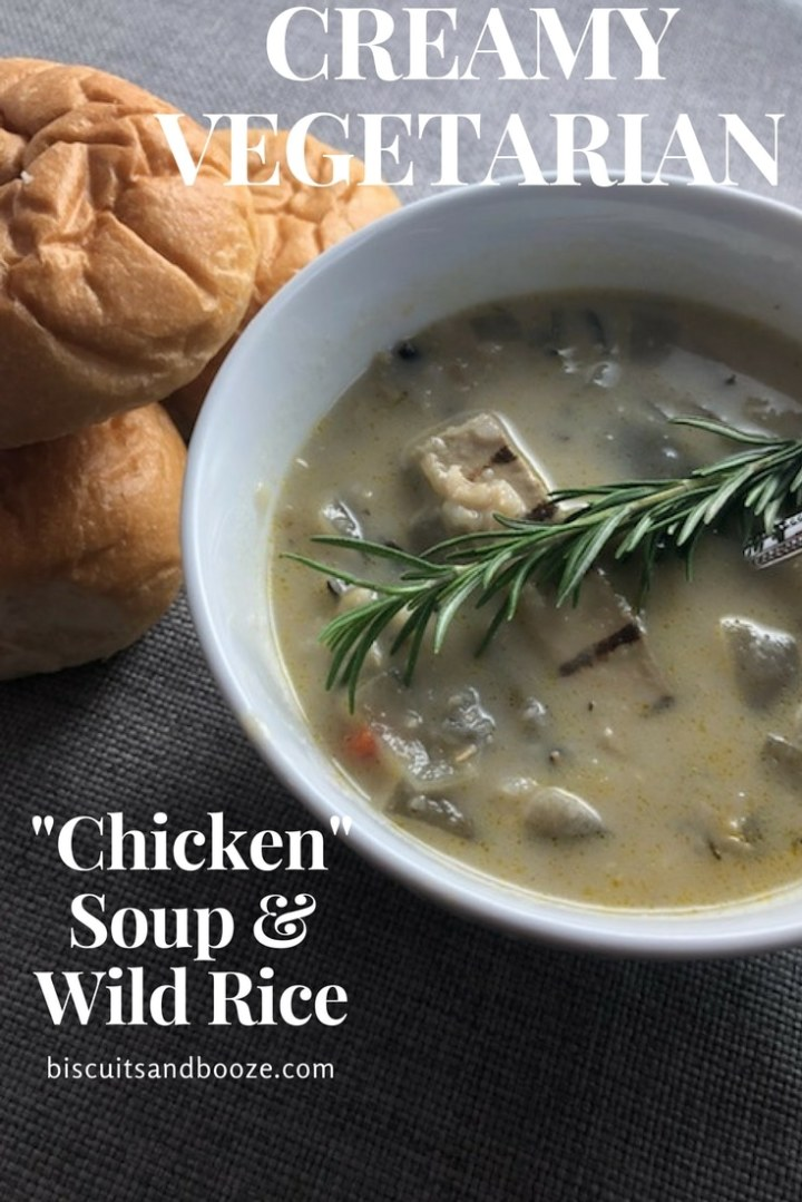 This Creamy Vegetarian Chicken Soup with Wild Rice is such a satisfying meal. It's creamy, with a slightly nutty quality from the wild rice. It also packs a nutritional punch! #vegetarian #vegetarianchickensoup #plantbased #beyondmeat #wildrice #soup #homemadesoup #vegetariansoup