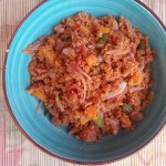 Corned beef gari foto with carrots and green beans