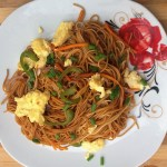 Stir fried spaghetti and vegetables with eggs