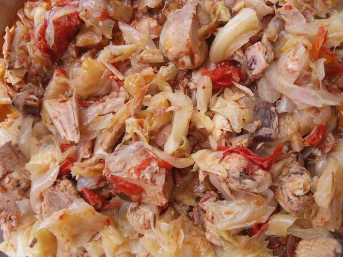 Ghanaian style cabbage stew using smoked tuna.