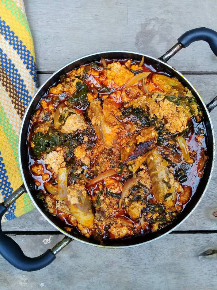 Kontomire stew AKA palava sauce is a Ghanaian delicacy made with cocoyam leaves popularly called kontomire. It goes very well with yam, plantain, rice, cocoyam etc.