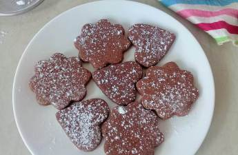 Easy cut out chocolate cookies or biscuits; requires no chilling of dough, keeps it shape very well and does not spread!
