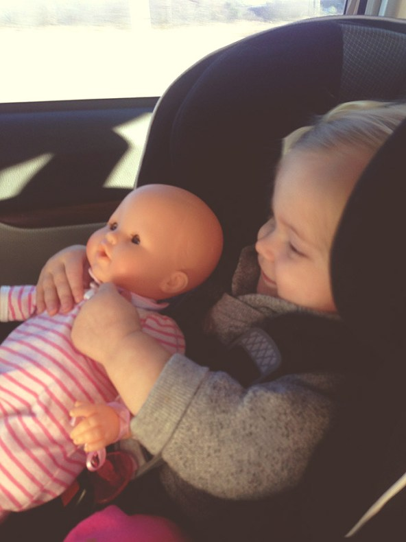 ellery and baby in carseat