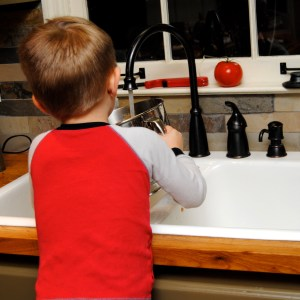 Brogan doing dishes