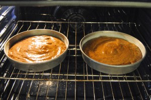 Chocolate cake in oven