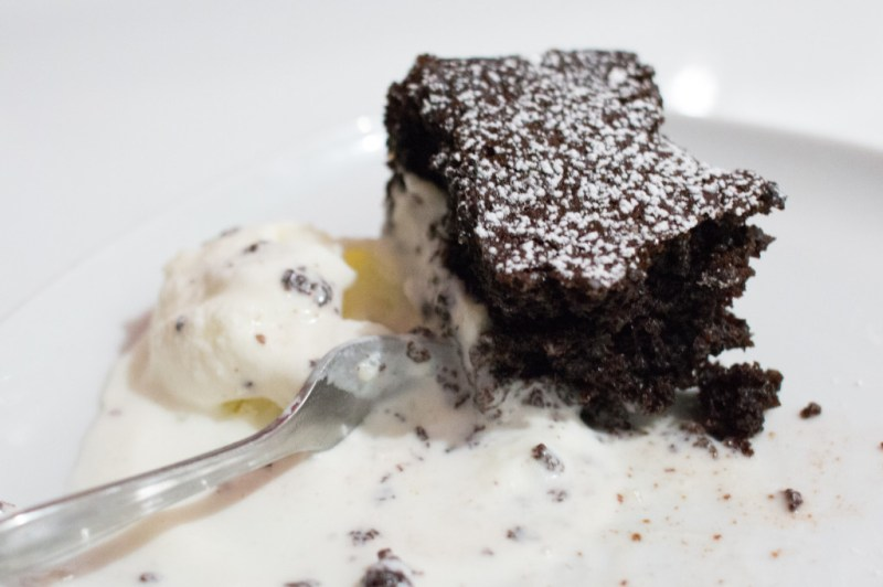 Dark Chocolate Cake with Ice Cream