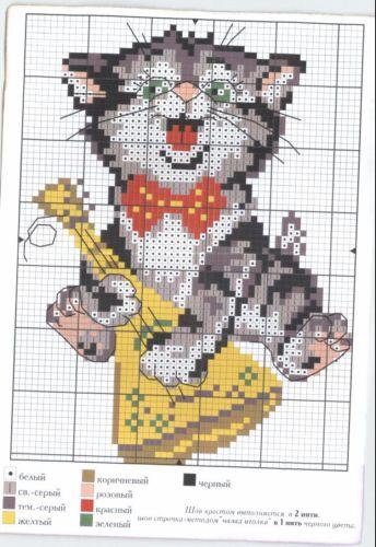 Вышивка котёнок с балалайкой | Бисер, схемы плетения и ...