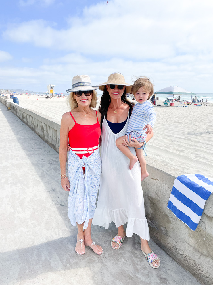 two women with toddler at the beach