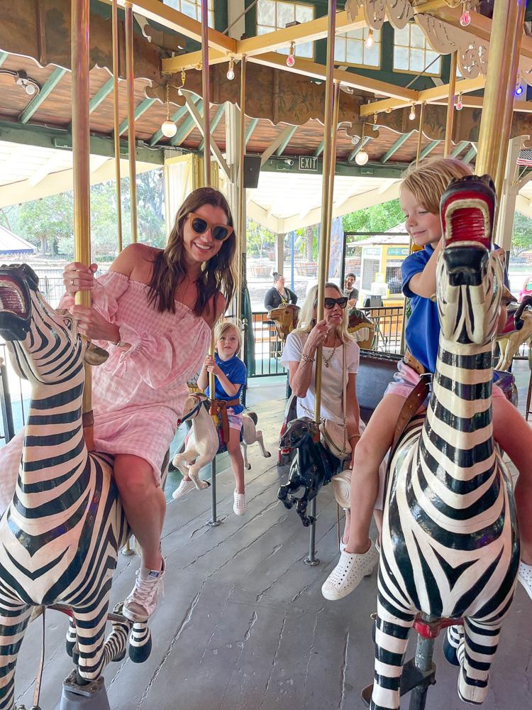 riding on carousel