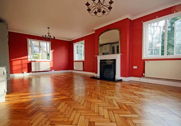 beautifully restored herringbone floor.