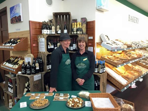 Alison Way and Jo Tripp offer clients tasty samples to try.