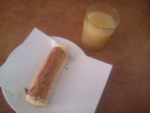 Cheese roll and juice.