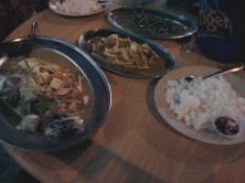 Fish with vegetables, prawns with vegetables, special fried malaysian vegetables and lots of rice.