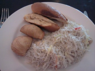 Asian breafast (fried noodles, curry puff, roti John) at Sheraton.