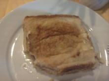 Sweeet toast filled with eggs, coconut milk, chocolate,... :)