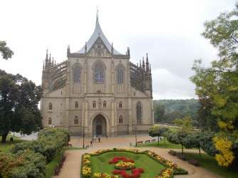 St Barbara's church with gardens in Kutná Hora.