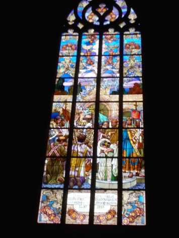 Stained glass in the St Barbara's church.
