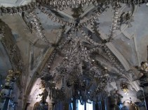 Chandelier made out of human bones inside the Sedlec ossuary in Kutná Hora.