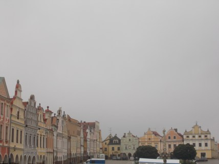 The main square in Telč, with the famous 16th-century houses.