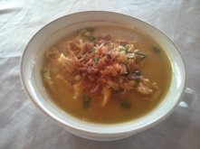 Soto ayam (chicken soup).