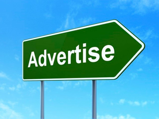 Advertising concept: Advertise on green road (highway) sign, clear blue sky background, 3d render