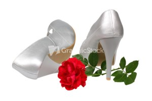 A pair of silver women's heel shoes with red rose isolated over white with clipping path.