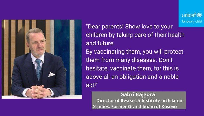 Drejtori i IHSI-së, Sabri ef. Bajgora, pjesë e kampanjës së UNICEF-it për vaksinimin e fëmijëve kundër sëmundjeve ngjitëse