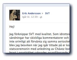 Kommentar på SVT:s facebooksida