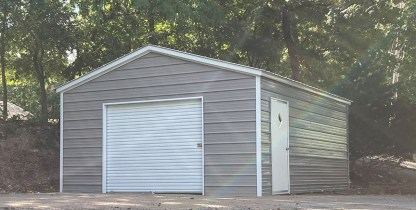 18x21x8 Vertical Roof All Metal Garage with 8' side walls.