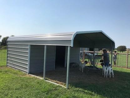 18x20 Livestock Shelter, 10' enclosed