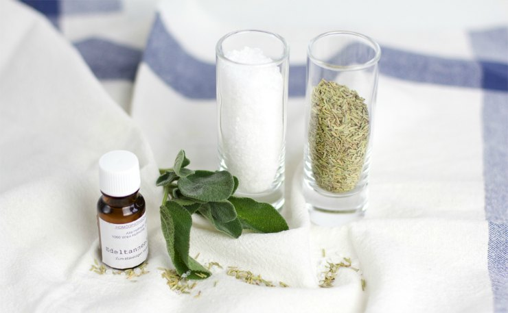 DIY Belebendes Kräuter-Badesalz Zutaten