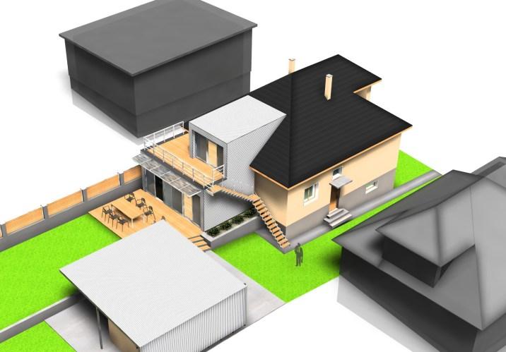Prístavba k rodinnému domu, Ružomberok - vizualizácia dvojpodlažného rozšírenia / bistan.sk