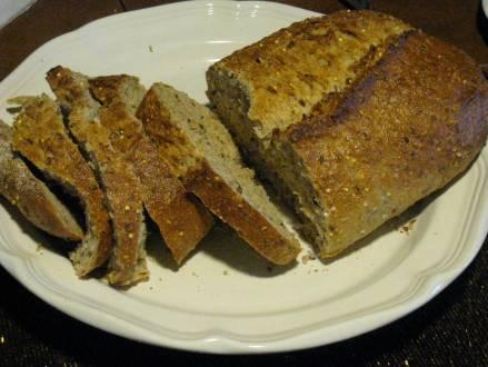 Freshly-baked whole grain bread