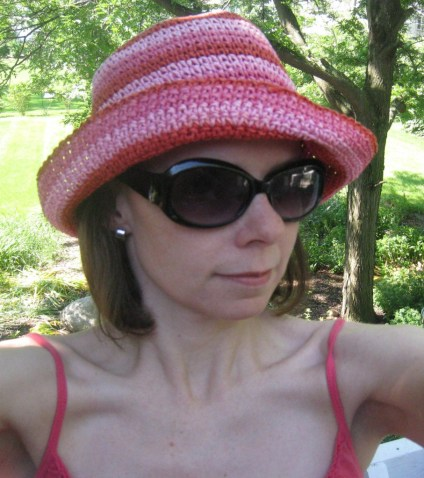 The very perky pink-striped hat kept me shaded all afternoon.