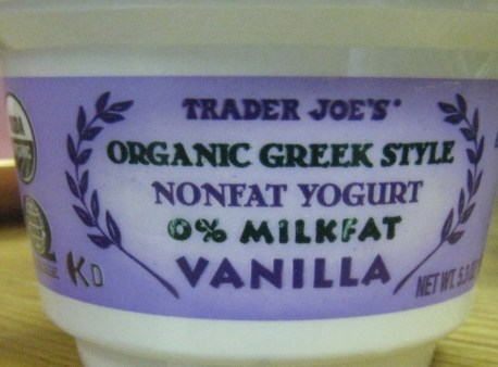 Trader Joe's Vanilla Greek Yogurt - a super energizing breakfast!