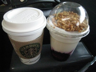 Yeah! A business expensed breakfast at Starbucks!