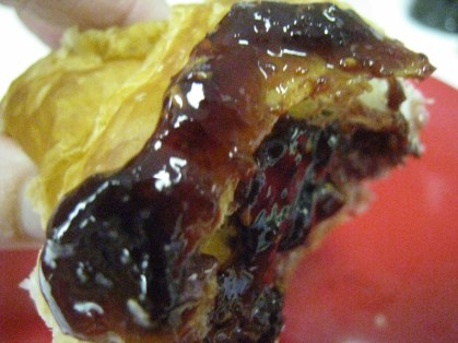A little dollop of raspberry preserves to go with my flaky croissant!