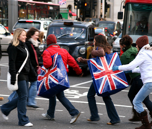 British women with shopping bags