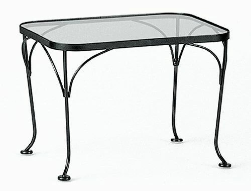 rectangular wrought iron glass top side table