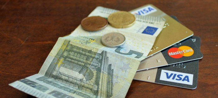 Credit cards, Euros, money