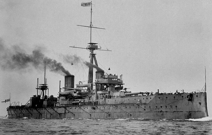 HMS Dreadnought, the world's most powerful battleship, was launched in Portsmouth in 1906.