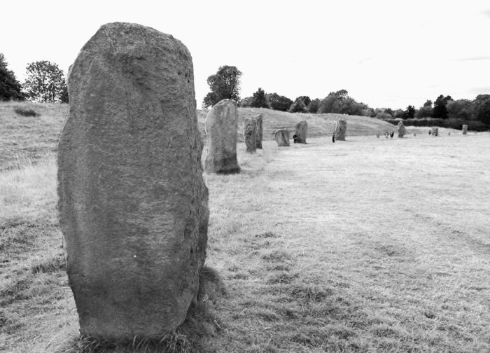 Avebury, circle, black and white