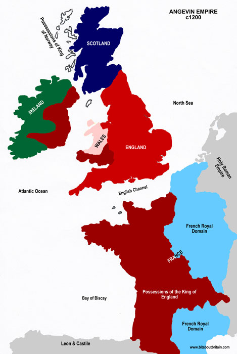The Angevin Empire c1200, Map