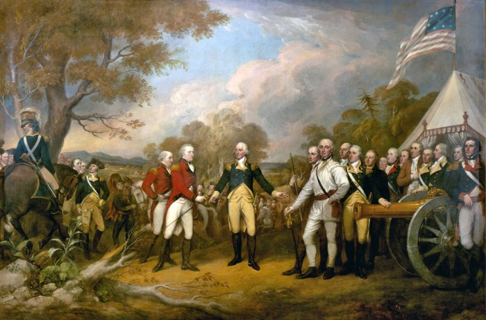 Surrender of General Burgoyne, Saratoga, 1777, American independence, John Trumbull.