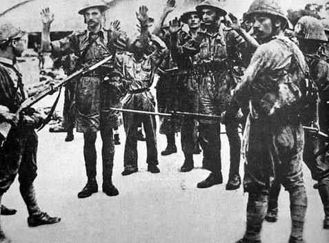 British troops surrender, Malaya, Second World War