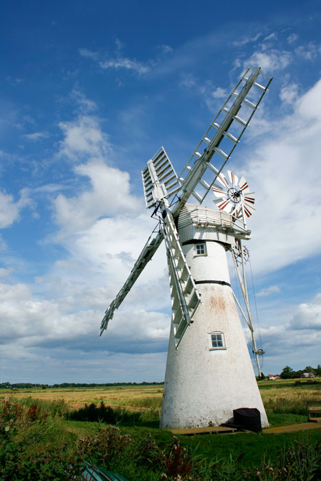 East Anglia is famous for its windmills. This is Thurne drainage mill, in Norfolk.