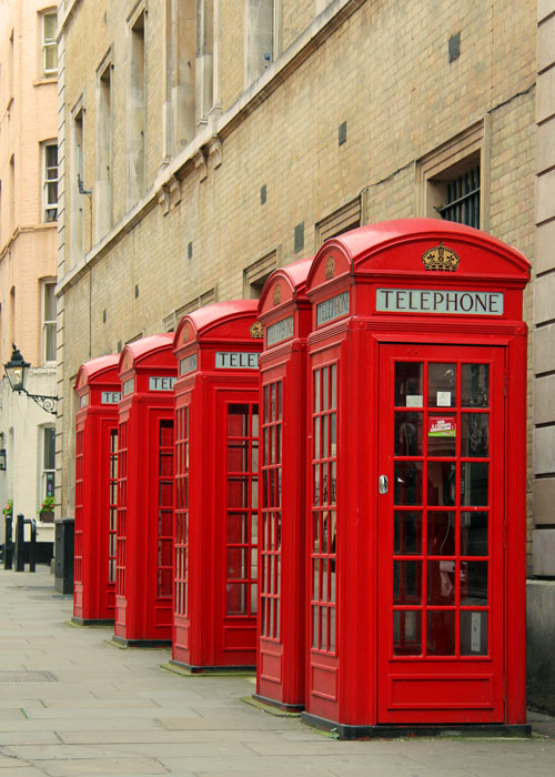 Red phone boxes, London. Britain