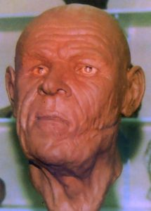 Reconstructed face from the past. A victim of Towton, this chap was a veteran - as shown by the old wound to his jaw.